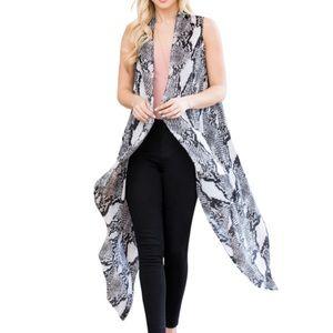 NEW Snake Print White Sleeveless Kimono Cardigan